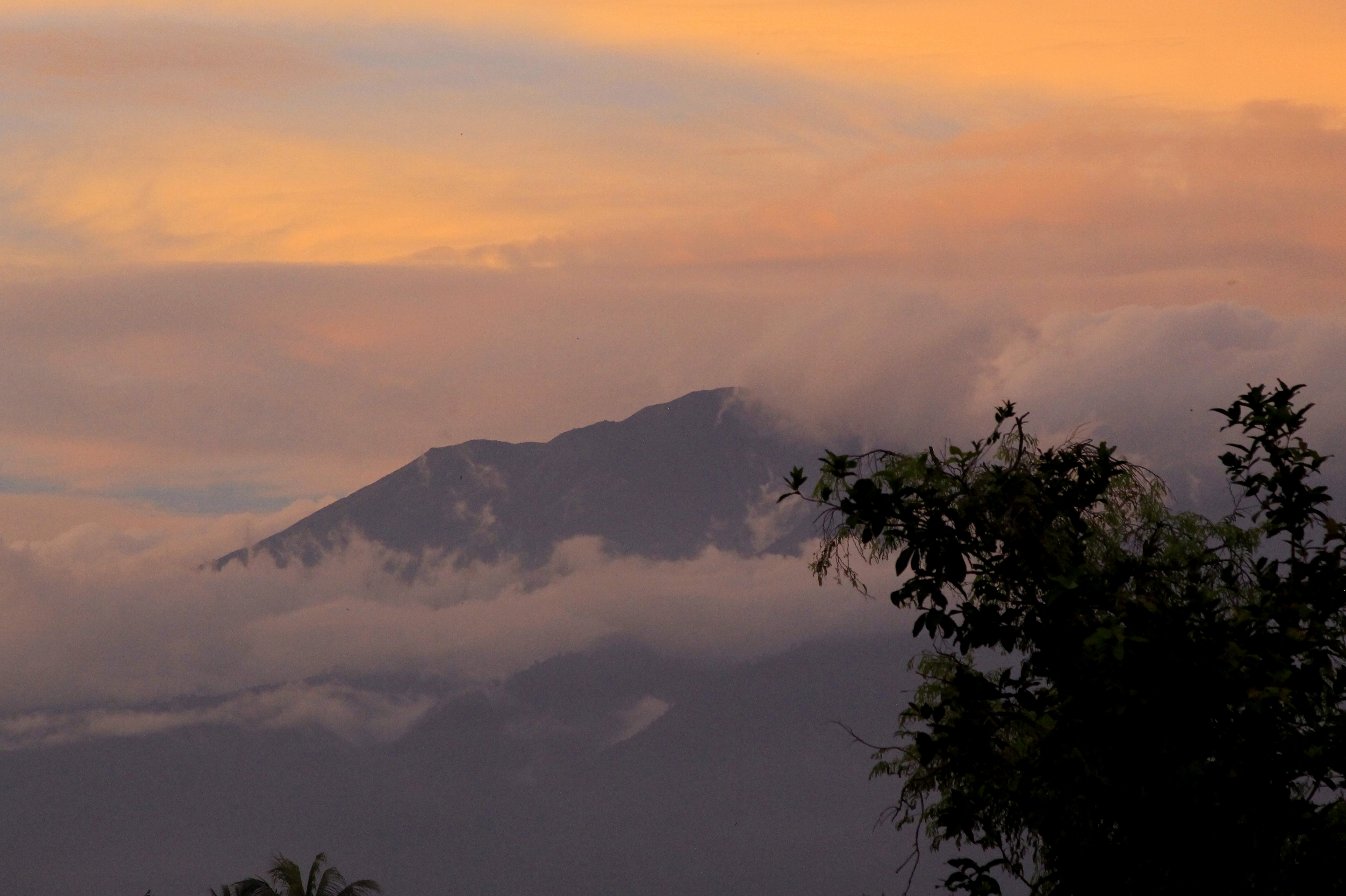 The view of Mount Rinjani during sunset