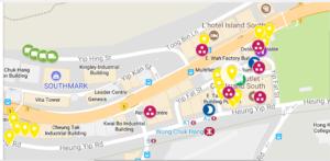 Map of street art in Wong Chuk Hang